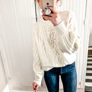 J.Crew Pom Bobble Sleeve Cable knit Sweater a5